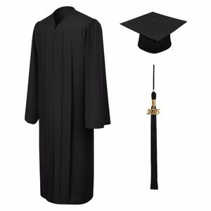 Black Matte Graduation Cap and Gown with Tassel